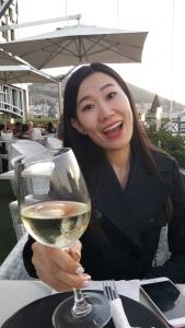 Li Li with wine